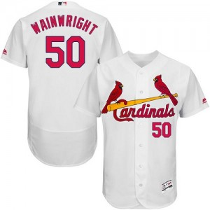 Authentic Men's Adam Wainwright White Home Jersey - #50 Baseball St. Louis Cardinals Flex Base