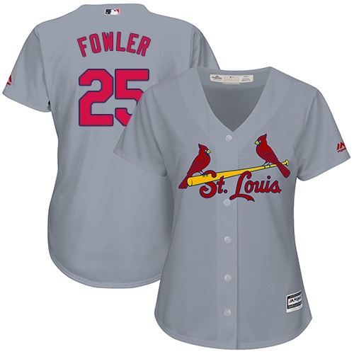 Women's St. Louis Cardinals #25 Dexter Fowler Replica Grey Road Cool Base Baseball Jersey