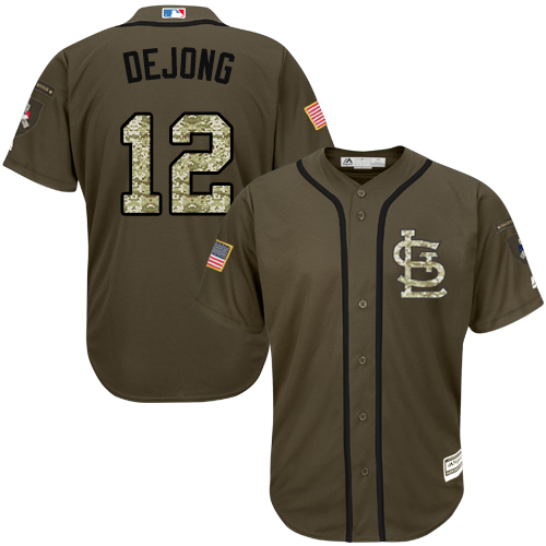 Authentic Youth Paul DeJong Green Jersey - #12 Baseball St. Louis Cardinals Salute to Service