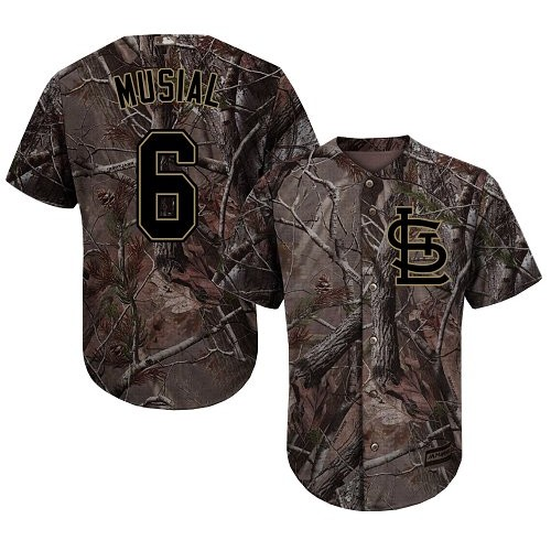 Authentic Youth Stan Musial Camo Jersey - #6 Baseball St. Louis Cardinals Flex Base Realtree Collection