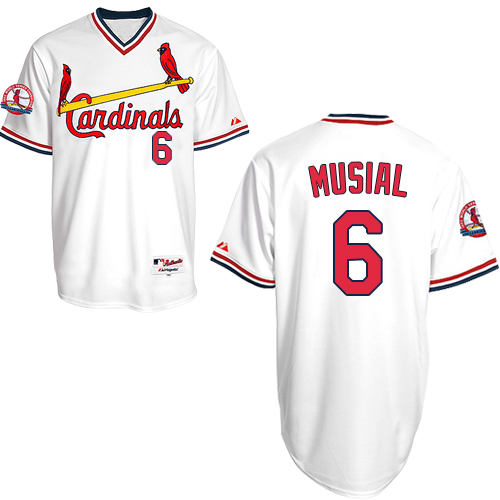 Men's St. Louis Cardinals #6 Stan Musial Authentic White 1982 Turn Back The Clock Baseball Jersey