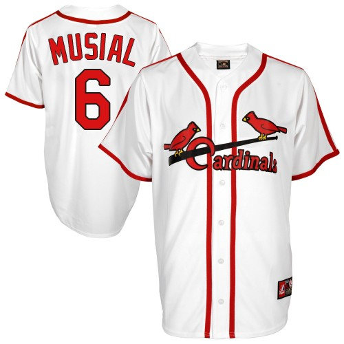 Men's St. Louis Cardinals #6 Stan Musial Authentic White Cooperstown Throwback Baseball Jersey