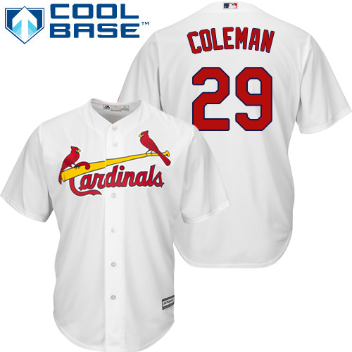 Youth St. Louis Cardinals #29 Vince Coleman Authentic White Home Cool Base Baseball Jersey