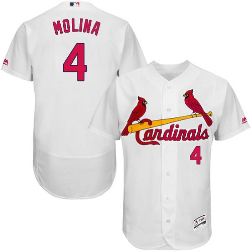 Authentic Men's Yadier Molina White Home Jersey - #4 Baseball St. Louis Cardinals Flex Base